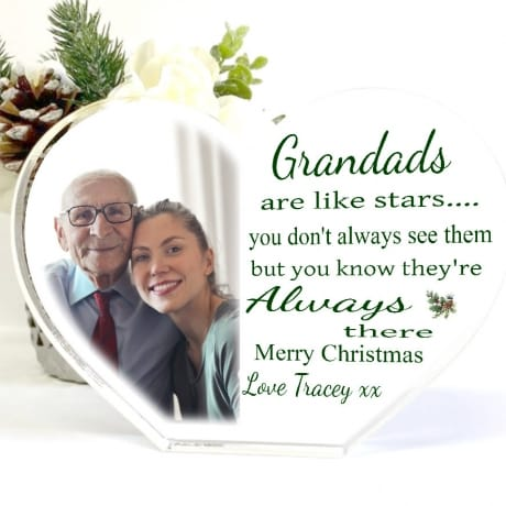Christmas Acrylic Heart Block -Grandads are like Stars
