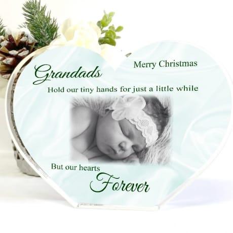 Acrylic Heart Grandad Christmas Photo Block - tiny hands