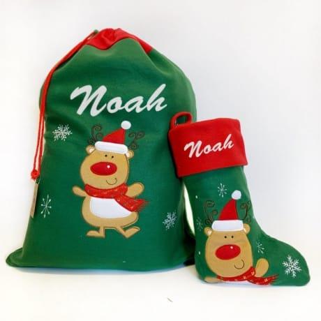 Glitter Text Green Santa Sack And Stocking Set Rudolph