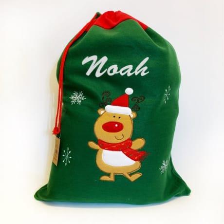 Glitter Text Green Santa Sack Rudolph