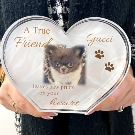 Personalised Acrylic Heart Photo Block -  A true friend