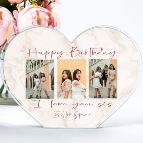 A Gift From The Heart Acrylic Heart Block - Sisters