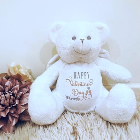 Happy Valentine's Day Embroidered Teddy Bear