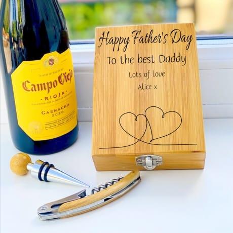 Personalised Wooden Wine Cork Gift Set Design 6