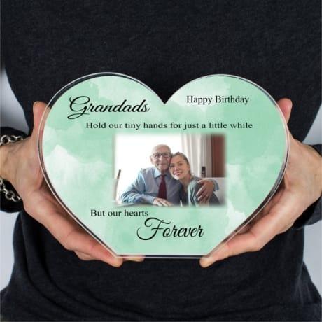 Personalised Acrylic Heart Birthday Photo Block - tiny hands