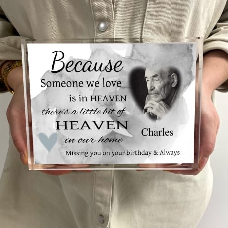 Personalised photo block Remembrance Gift - Birthday