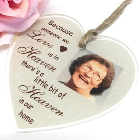 Personalised Large Acrylic Heart : Because someone we love is in Heaven