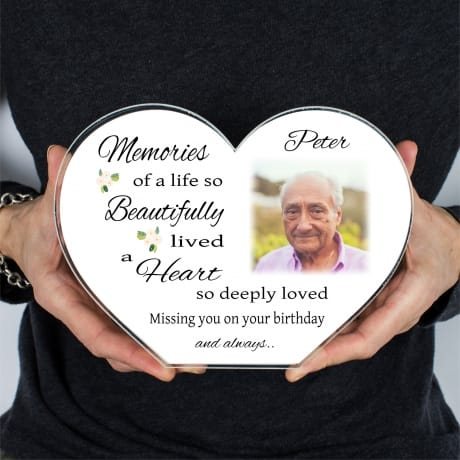 Personalised Birthday Memories Heart Block