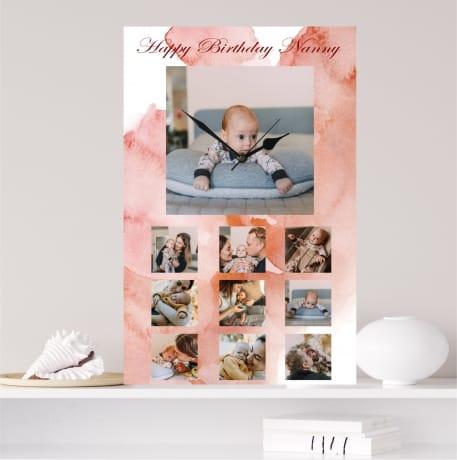 Personalised rectangle photo clock, happy birthday