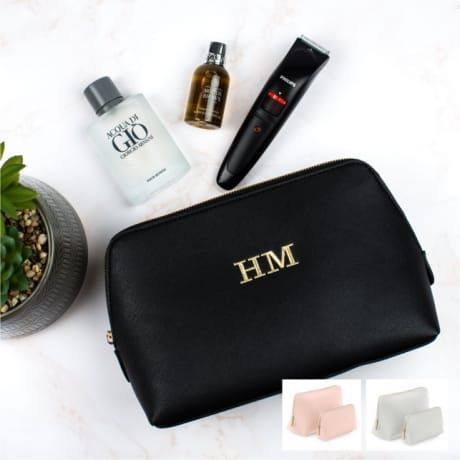 Personalised Black Luxury Large Wash Bag
