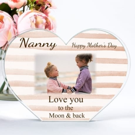 Personalised Acrylic Heart Photo Block - Mother's Day