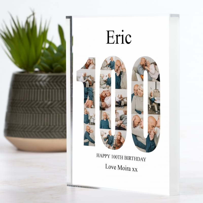 100th Birthday Photo Block Collage