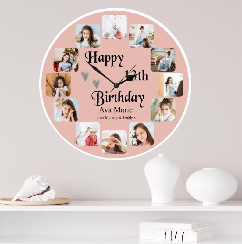 Personalised Clock - 12 Photo Birthday