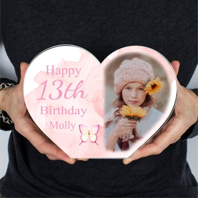Personalised Acrylic Heart Photo Block - 13th