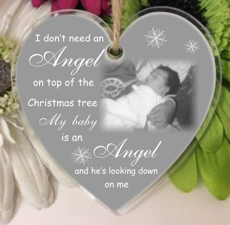 Personalised remembrance Christmas Angel heart
