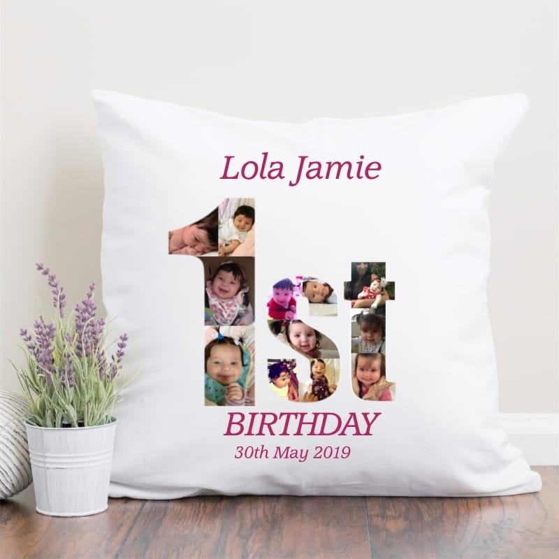 1st Birthday Photo Collage Cushion