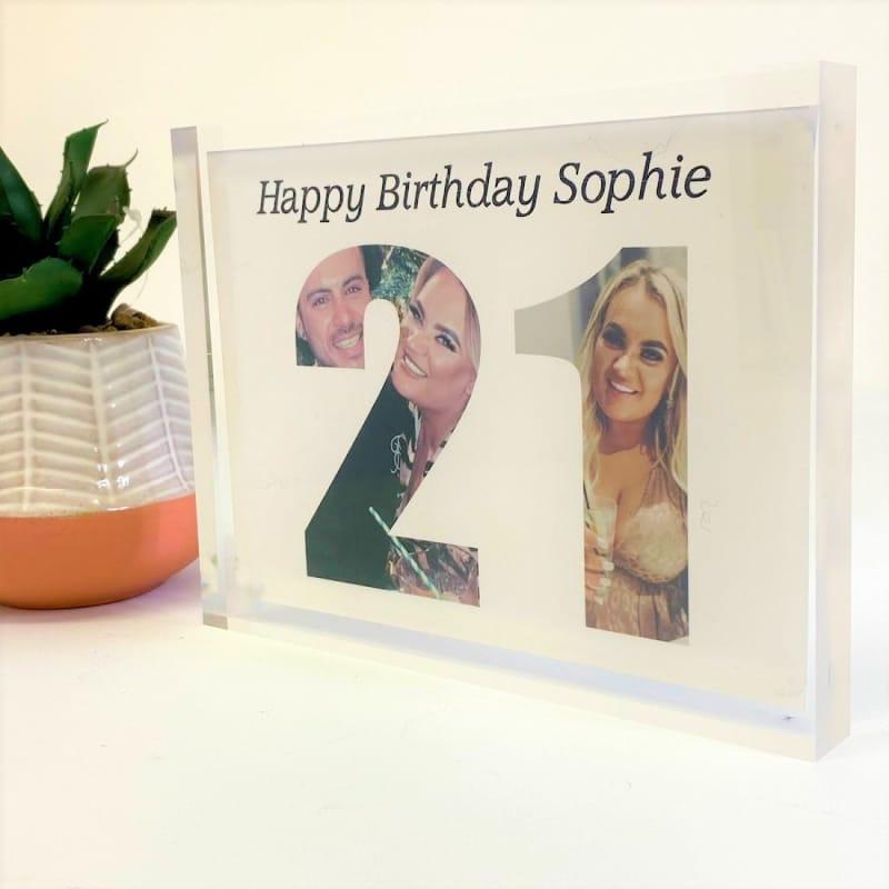 Personalised Photo Block Gift - 21st Birthday