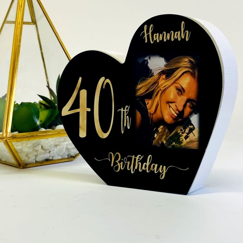 Personalised Black Wooden Heart -40 Gold