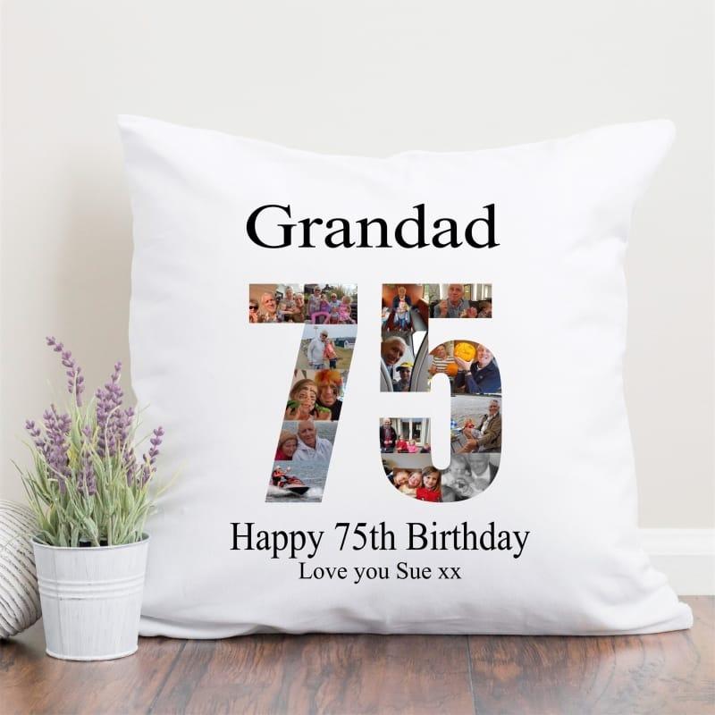 75 Birthday Photo Collage Cushion