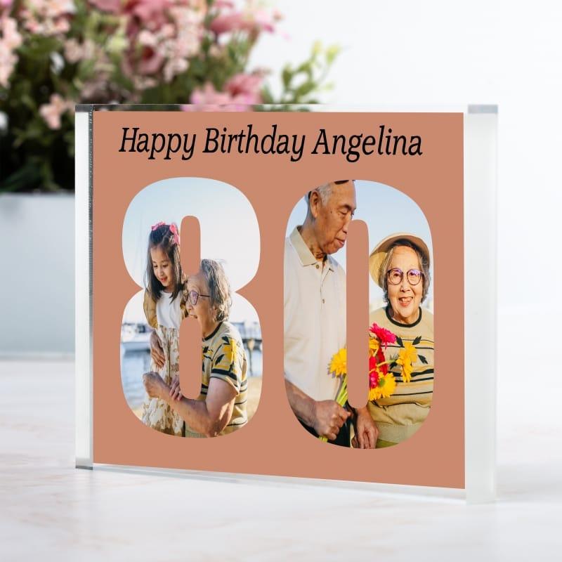 Personalised Photo Block  Gift - 80 Birthday