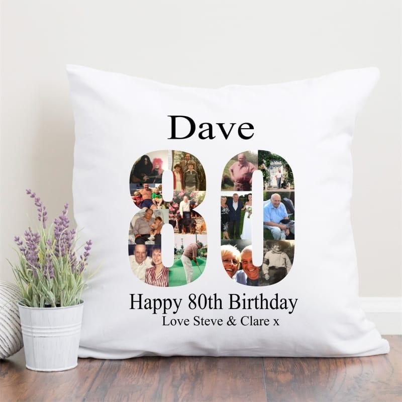 80 Birthday Photo Collage Cushion