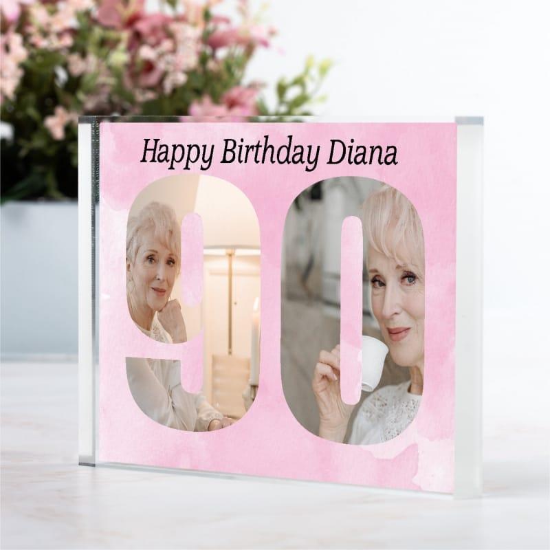 Personalised Photo Block  Gift - 90 Birthday