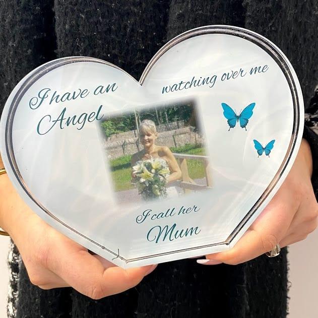 Personalised Acrylic Heart Photo Block - Angel
