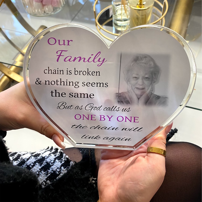 Personalised Acrylic Heart Photo Block - Our family chain