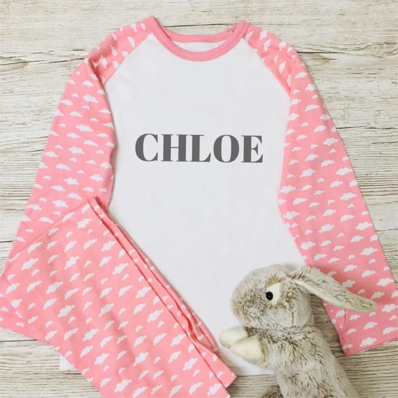 Personalised Cloud Pyjamas - add name in Blue or Pink