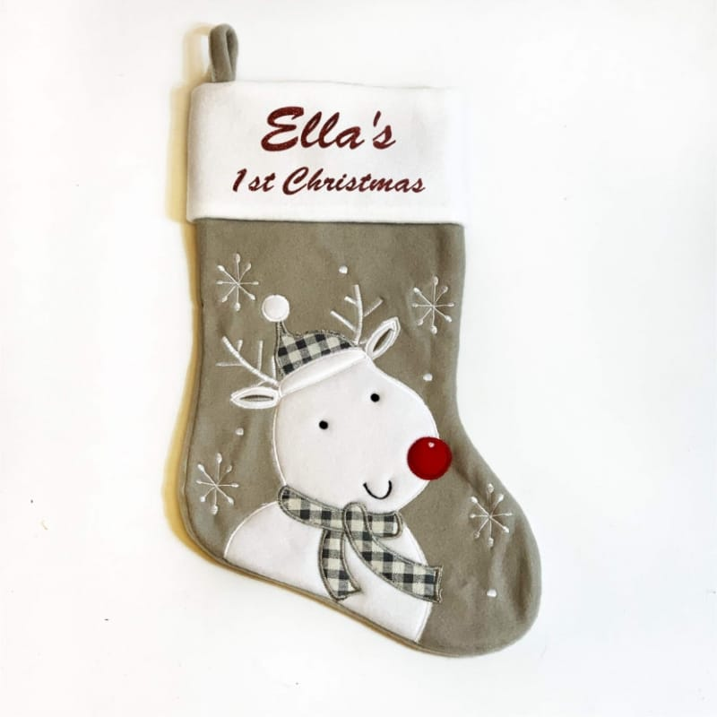 Glitter 1st Christmas Rudolph Stocking
