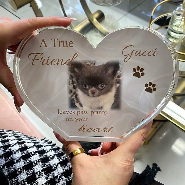 Personalised Acrylic Heart Photo Block -  A true friend