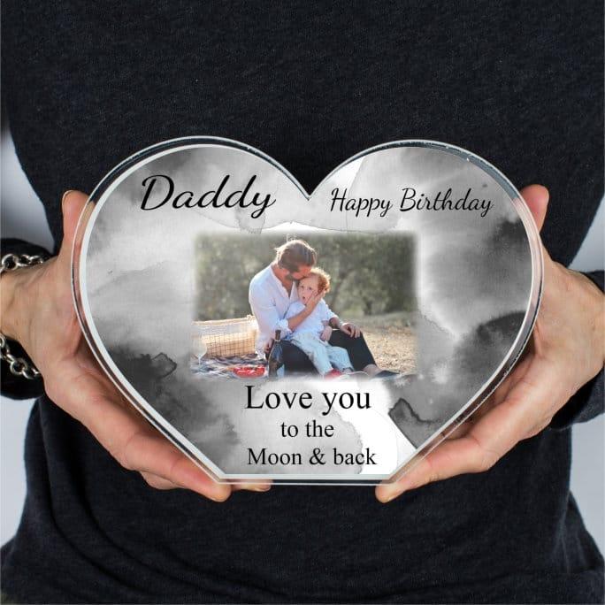 Personalised Acrylic Heart Photo Block - Birthday