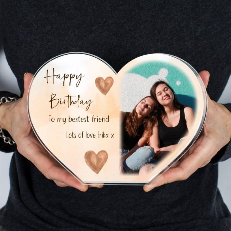 Personalised Friendship Heart Birthday Photo Block