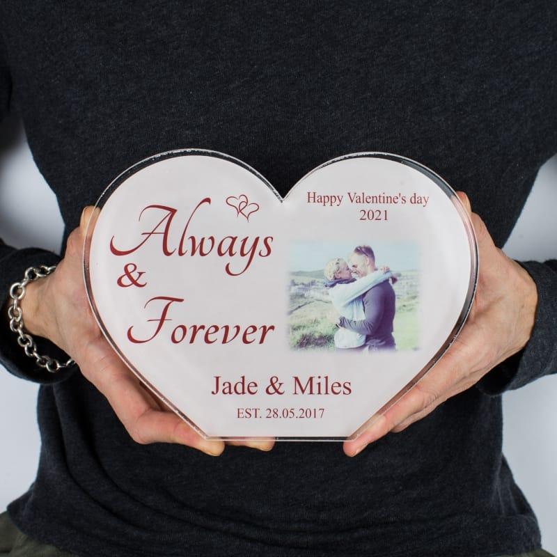 Valentine Personalised Acrylic Heart Photo Block -Always & Forever