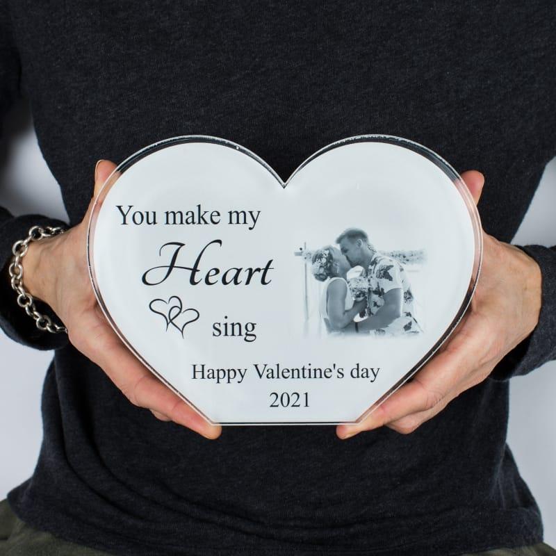 Valentine Personalised Acrylic Heart Photo Block -Heart sing
