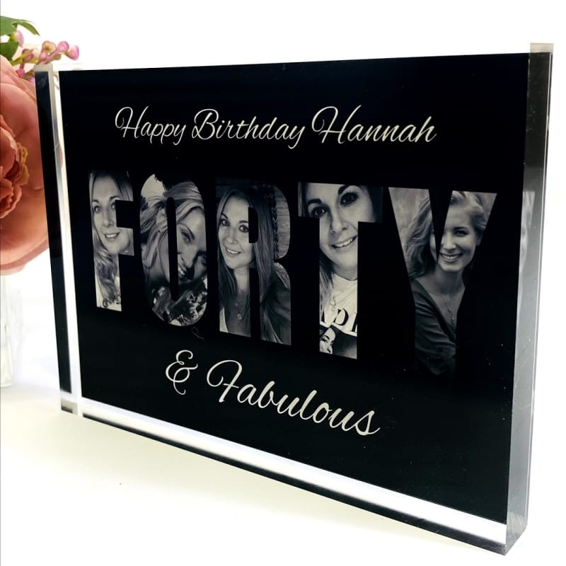 Forty Letters Personalised Photo Block Collage