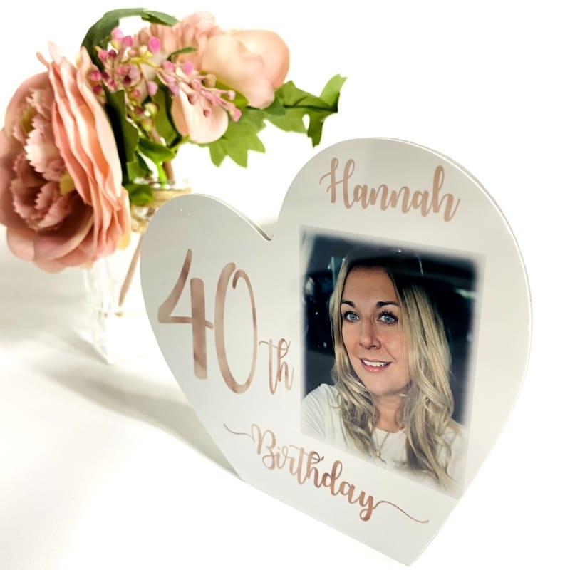 Personalised White Wooden Heart -40 Rose Gold