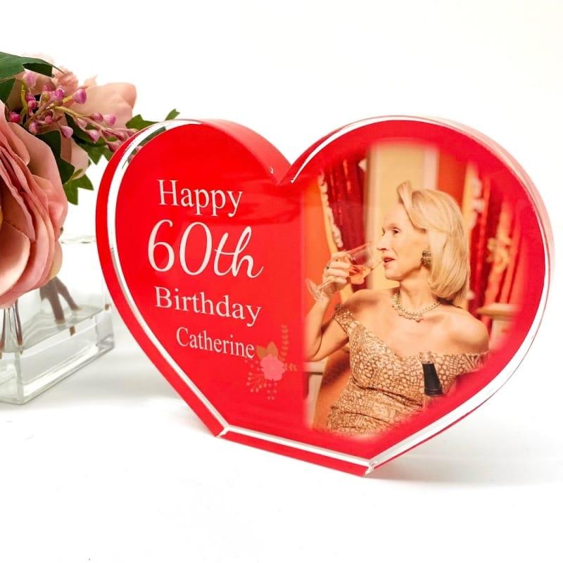 Personalised Acrylic Heart Photo Block - 60th