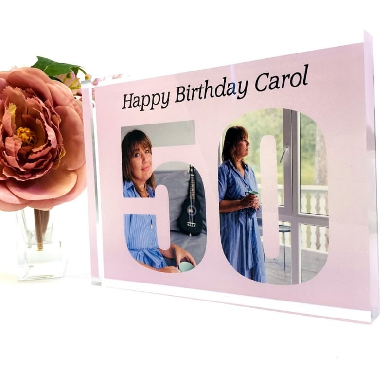 Personalised Photo Block Gift 50th Birthday