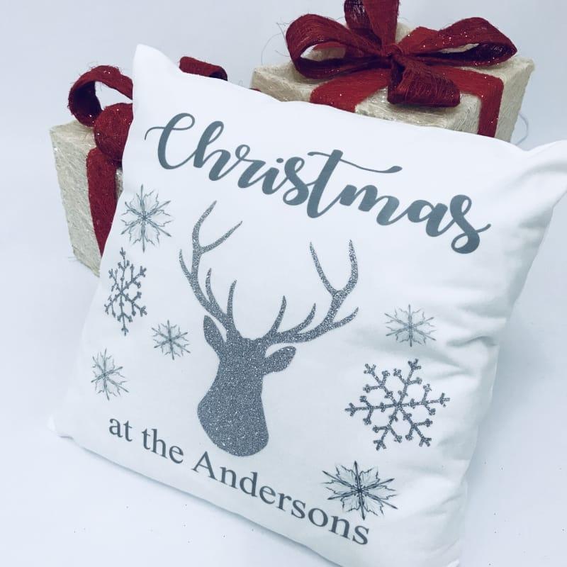 Personalised Christmas name glitter cushion