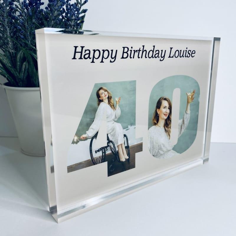 Personalised Photo Block  Gift - 40 Birthday