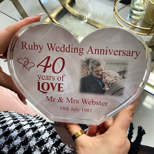 Personalised Acrylic Heart Photo Block -  Ruby Anniversary