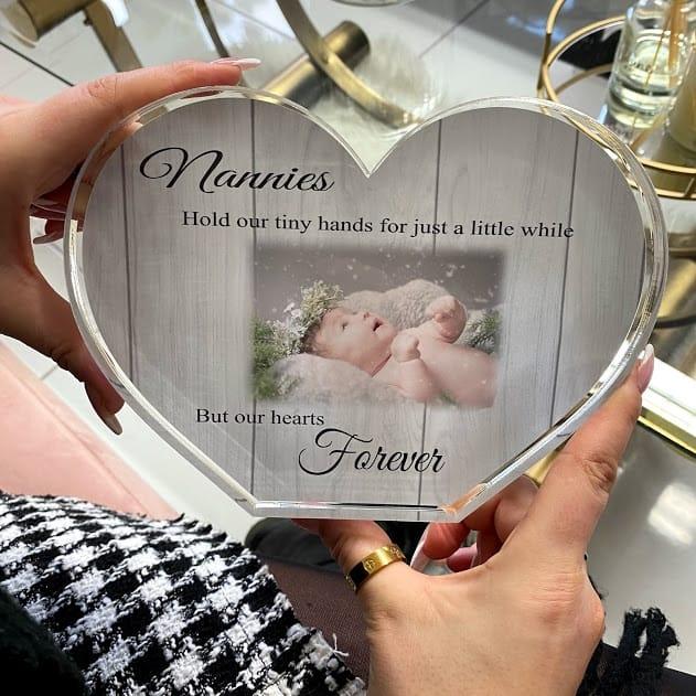 Personalised Acrylic Heart Photo Block - tiny hands