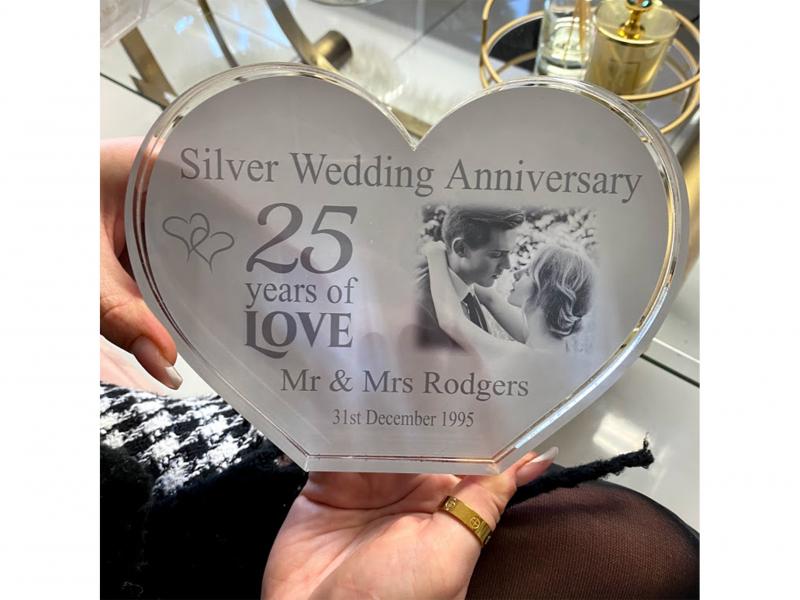 Personalised Acrylic Heart Photo Block - Silver Anniversary