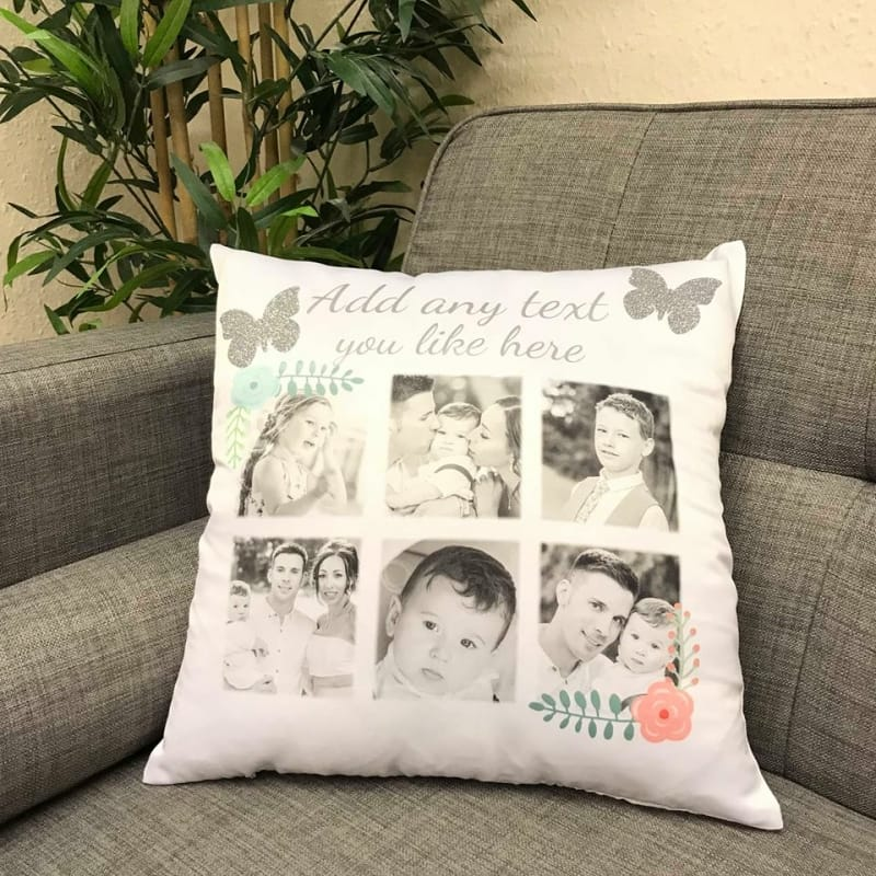 Add any text you like to this cushion, with glitter butterfly detail