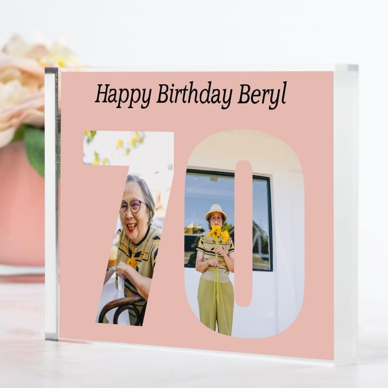 Personalised Photo Block  Gift - 70 Birthday