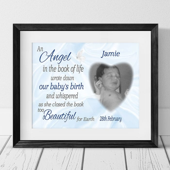 Personalised baby Remembrance - An Angel in the book of life