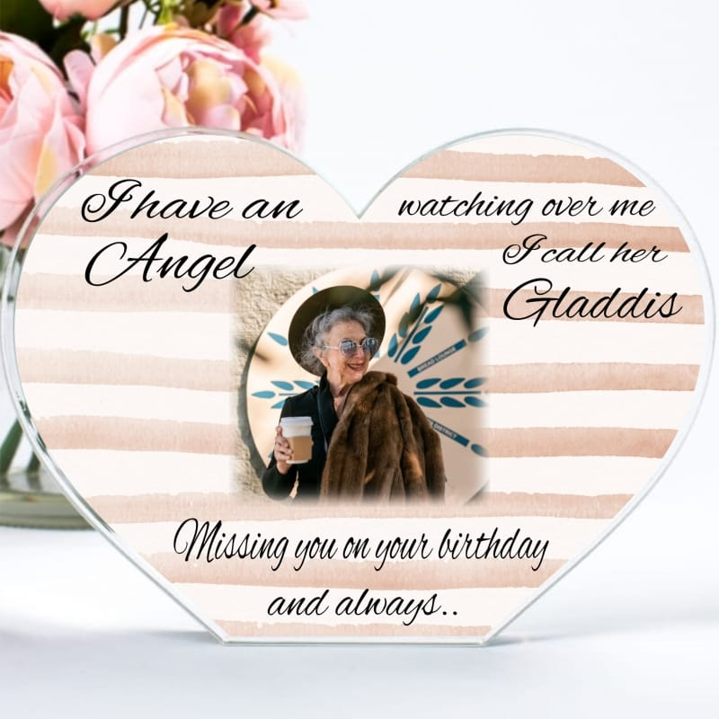 Personalised Birthday Angel Heart Block