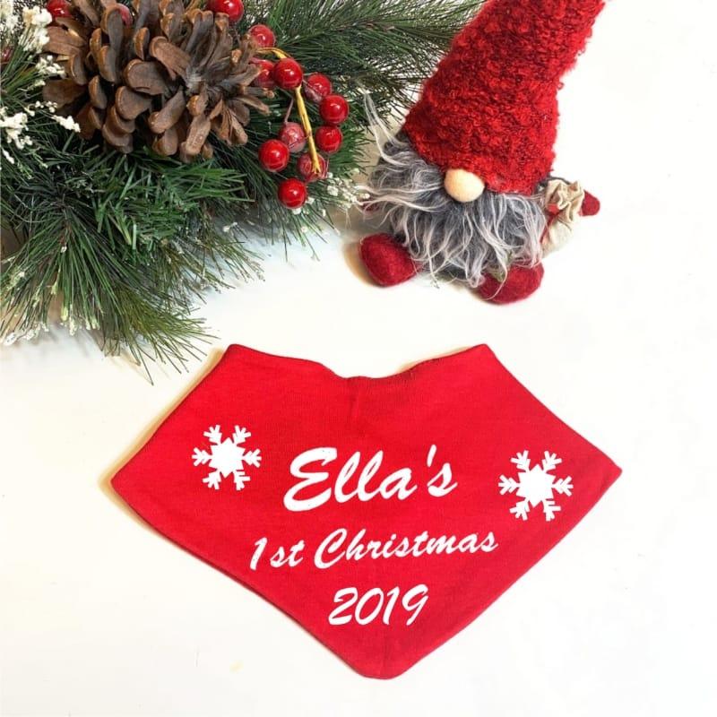 My 1st Christmas Bandana Bib Red