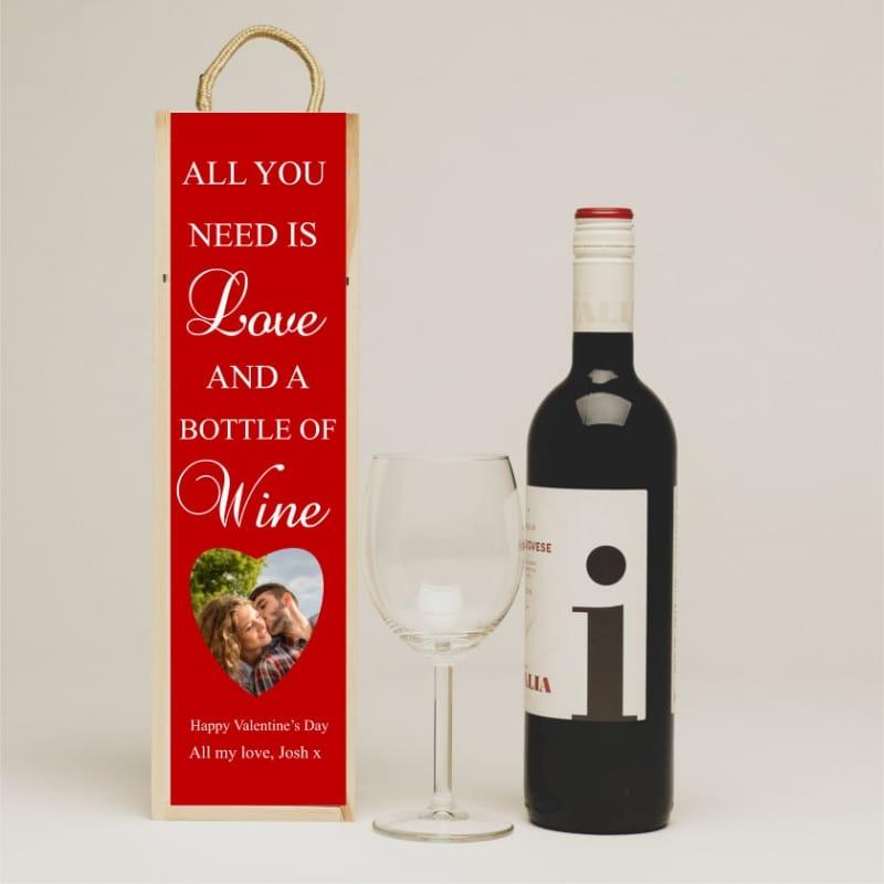 Personalised valentine's wine gift box